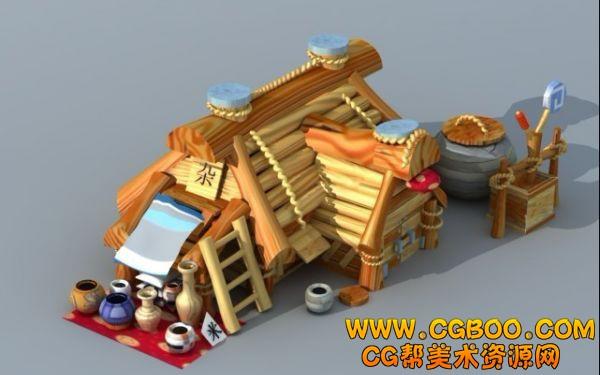 木頭房子卡通圖片