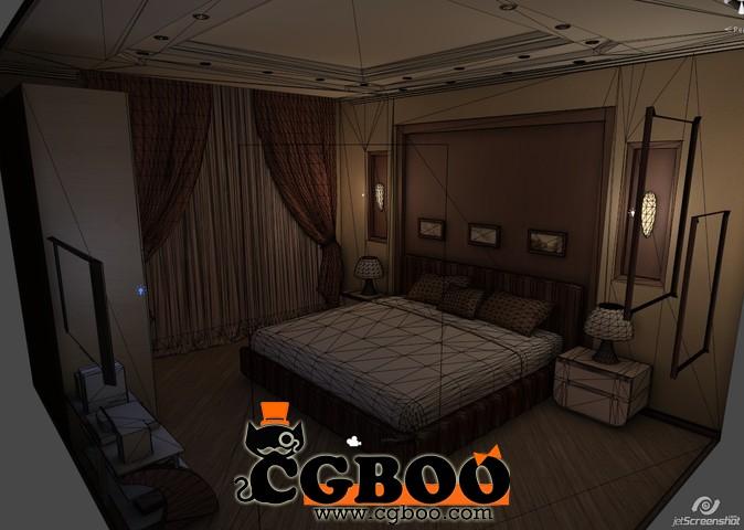 ty3d 室内场景模型 bedroom 夜晚卧室场景unity 3d 模型CG帮美术资