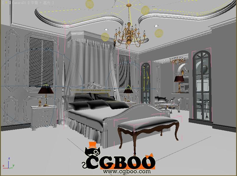 欧式卧室场景模型室内整套模型CG帮美术资源网