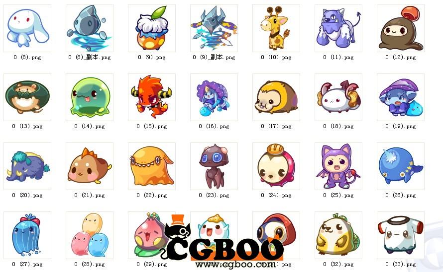 【原画资源】q版游戏宠物(合集)png【无背景】323pc