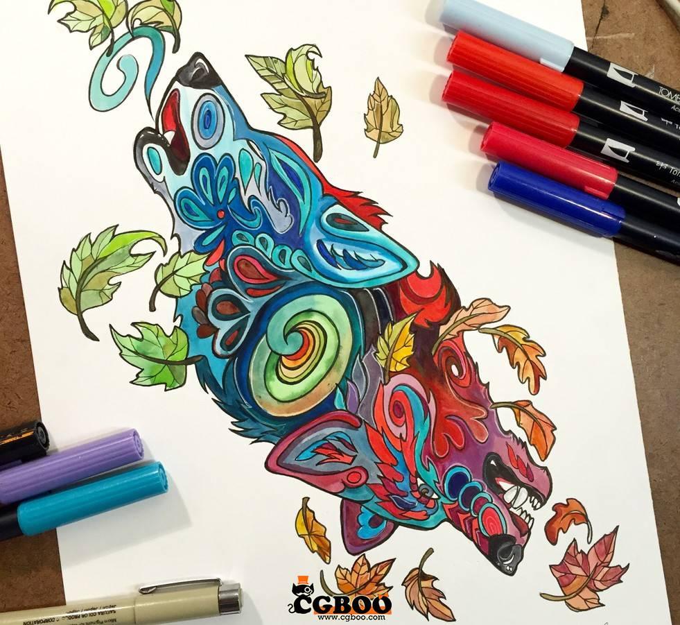 【原画资源】手绘插画 欧美 创意动物 彩铅与水彩画 配色