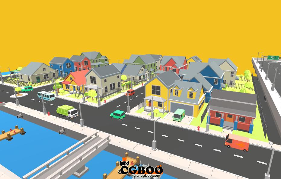 卡通城市q版建筑简模建筑城市3d模型下载建筑物件道具