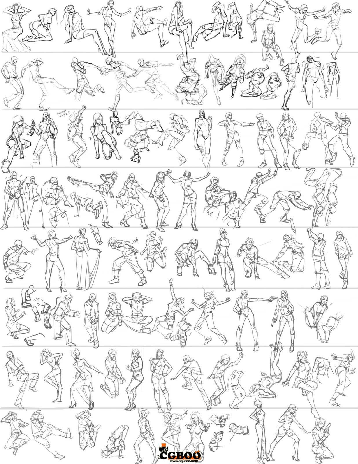 线稿速写素材 5000种人物着衣手绘速写图绘画参考集