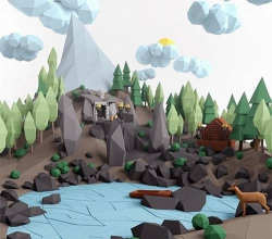 Low poly lanscape mountain hill tree lake and other items Low-poly 3D model