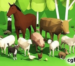 家养动物装配低聚3D模型 Domestic animals rigged pack Low-poly 3D model